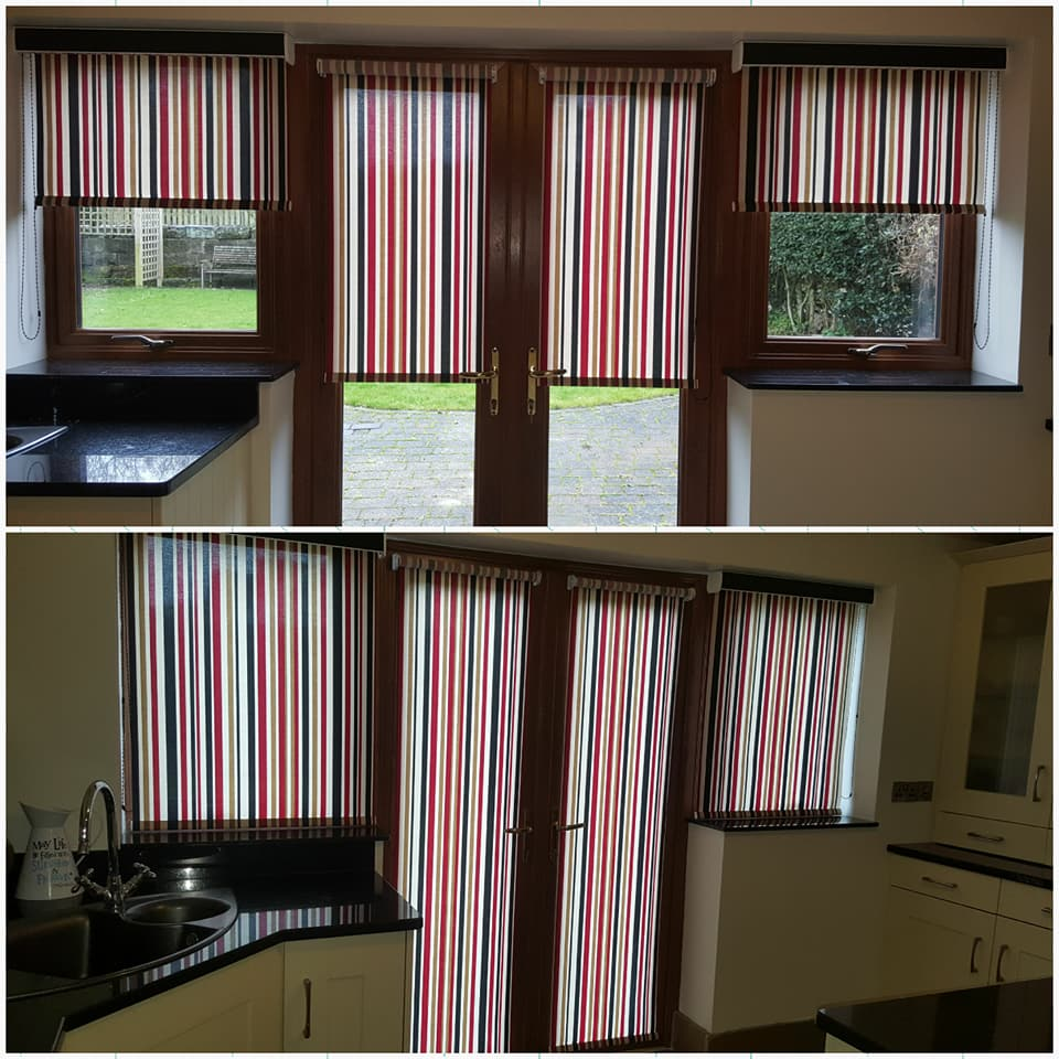 Striped roller blinds in two different positions