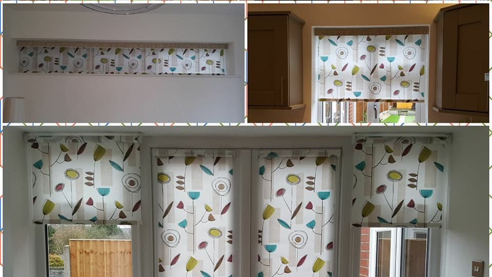 Collage of a patterned roller blind in different rooms