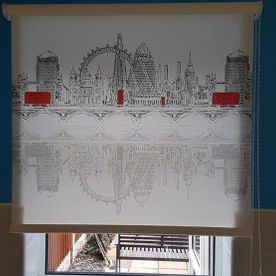 roller blind in a kitchen with a London skyline design