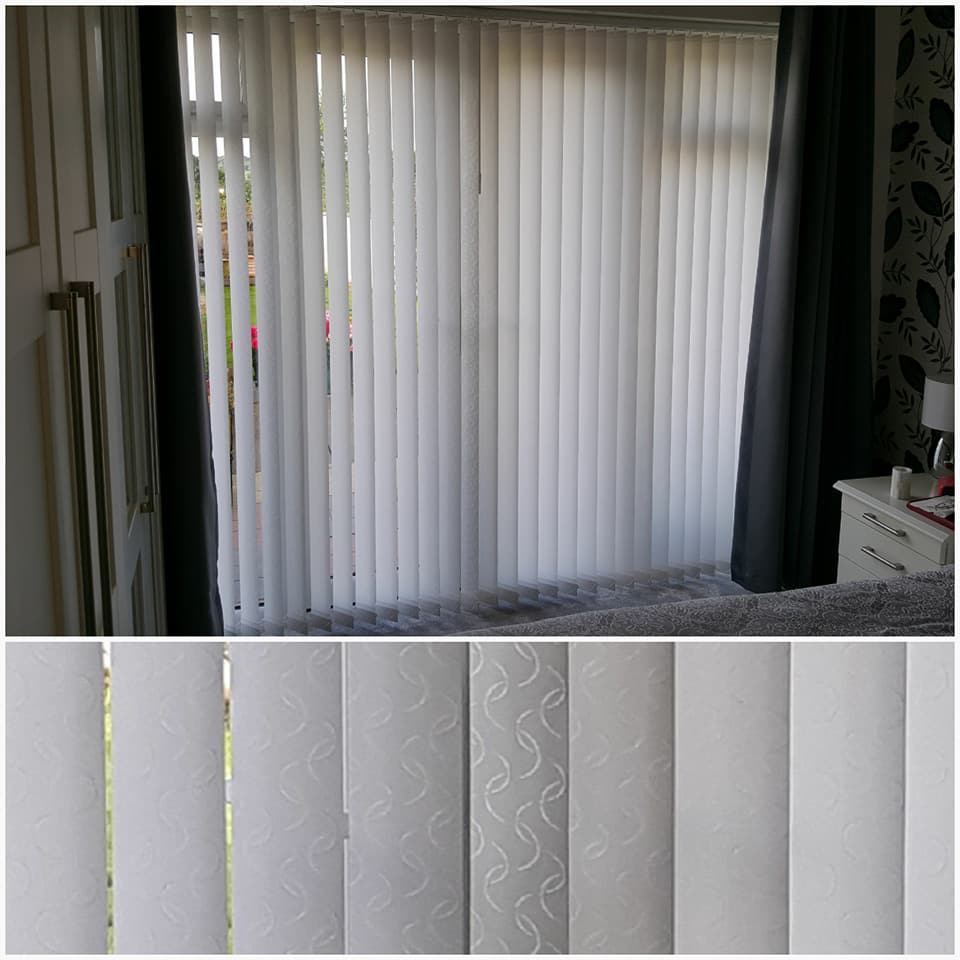 Collage of vertical blind with subtle design on