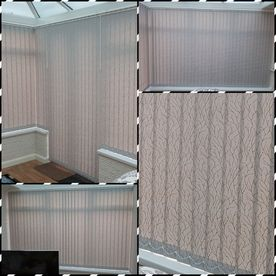 Collage of vertical blinds that have been bought from us by a customer